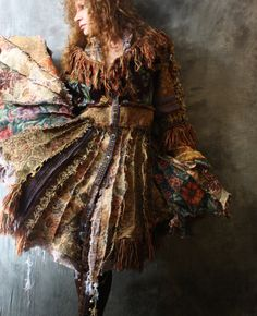 Vintage Tapestry Patchwork Hippie Gypsy Elf Fairy Coat Magical Carpetbagger Fringed