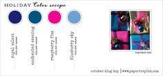 Oct 2014 Blog Hop Holiday Color Recipe 6 - Royal Velvet, Enchanted Evening, Raspberry Fizz, Blueberry Sky