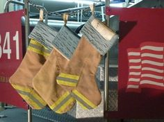 Recycled Fire Christmas Stocking by rekindledpride on Etsy, $40.00