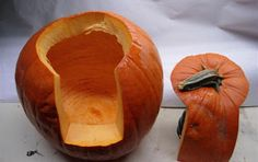 Pumpkin tips: Cut the back of the pumpkin like this, making it easy to get the candle in and out of. Also, throw the little silica packets that come in new purses etc into your pumpkin it will last a week longer. DO NOT EAT THE SILICA PACKETS!
