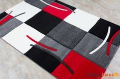 Black Red White Area Rugs Rug California Woven Retro 5