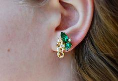 Vintage Rhinestone Screw Back Earrings Emerald Rhinestones Faux Pearls Formal Wedding Bridal 1950's // Vintage Costume Jewelry