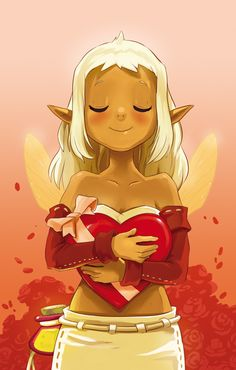 Illustration of valentine's day for a lottery card of the Dofus Magazine.