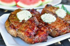 Grilled New York Steak with Blue Cheese-Tarragon Butter- Main Course, Summer BBQ Menu Grilled Steak Recipes, Grilling Recipes, Pork Recipes, Cooking Recipes, Steak With Blue Cheese, Challenge Butter, Pasta, Beef Dishes, Carne