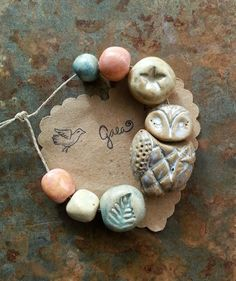 Moonbeam. Ceramic owl bead set. Gaea Ceramic Bead and Art Studio Blog: Happy New Year!