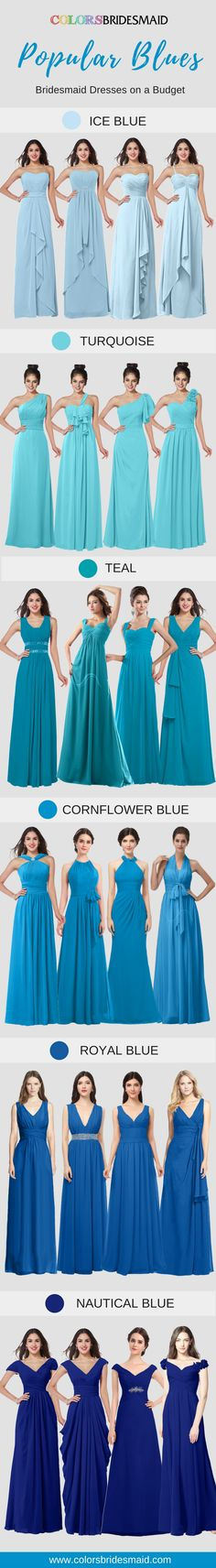 Long bridesmaid dresses in pupular blues(ice blue, truquoise, teal, cornflower blue, royal blue, nautical blue) in fashionable styles are ready for you to pick up for a fall or winter wedding. Their prices are beyond your imagination, under $100. Never miss it!