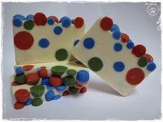 Spots and dots Soap ~ brlogarka Christmas Soap, Cold Process Soap, Jingle Bells, Poinsettia, Snowman, Dots, Creative, Stitches, Snowmen
