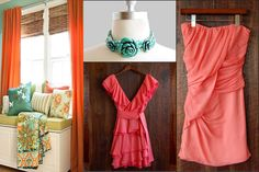 my wedding colors: coral and turqoise.  perfection.