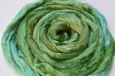 Mulberry Silk Roving Hand Dyed for spinning fibre felting needle felting nuno fibre arts mixed media paper making 20 grams Green 11731 by feltfibrecraft on Etsy