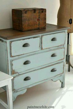 Pale gray blue dresser with natural stained wood top