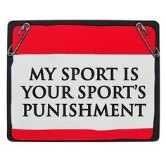 My Sport is Your Sports Punishment Race Bib Red Magnet. A runners bib shaped magnet to remind you why you run.