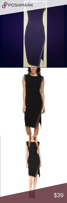Michael Kors Black Studded Sheath Dress Round silver studs add edge to a slinky matte-jersey sheath with waist-nipping ruching at the side. Curve-skimming silhouette with an asymmetrical side slit that enhances the head-turning appeal. Slips on over head. Smoke free home. Excellent condition no defects. L fits size 10-12. Any questions please ask. Offers welcomed. MICHAEL Michael Kors Dresses