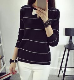 Womens Sweaters Fashion 2016 spring Casual O-neck Striped Pullover Computer Knitted Ladies' Sweater with Bow high quality
