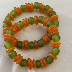 Green and Orange African Glass Beads by JewelsByLisaLucy on Etsy