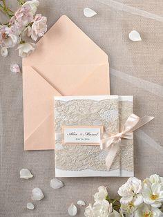 Peach lace WEDDING INVITATIONS 46/lace/z - delicate and romantic design #weddingideas