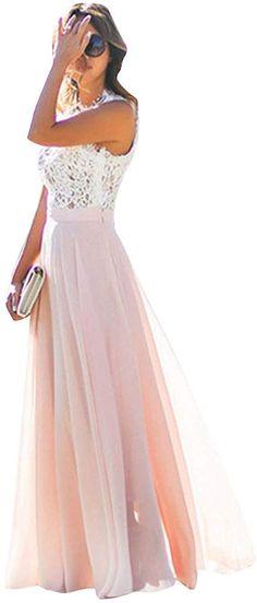 OMZIN Damen Kleid Spitze Chiffon Blumen Kleid Party Lang Maxi Kleid für Damen (Rosa, X-Large) Floral Chiffon Dress, Lace Dress, Lace Chiffon, Maxi Robes, Trends, Prom Dresses, Formal Dresses, Vintage Lace, Party Dress