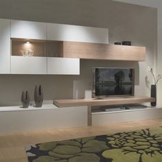 Love the built in unit and added lighting Living Room Wall Units, Home Living Room, Interior Design Living Room, Living Room Designs, Living Room Decor, Kitchen Interior, Tv Cabinet Design, Tv Wall Design, Tv Unit Design