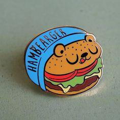 Hambearger Hard Enamel Lapel Pin by LindaPanda on Etsy