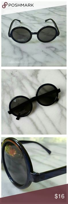 """Brunch Time Round Shades - Navy Oversized round shades navy frames and dark gray gradient lenses. Width 5.75"""", lens height 2.5"""", earpiece length 5.5"""". 100% UVA/UVB protection. Urban Outfitters Accessories Sunglasses"""