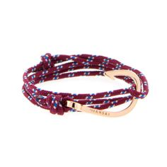 Miansai   Rose Gold Plated Hook Burgundy Rope - ROSE GOLD HOOK ON 100% NYLON MARITIME ROPE   MB00001RBRG:O/S   $75.00