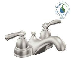 MOEN Banbury 4 in. Centerset 2-Handle Low-Arc Bathroom Faucet in Spot Resist Brushed Nickel-WS84912SRN - The Home Depot