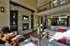 Living Room layout with stone fireplace.