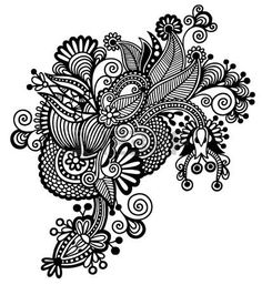 black  line art ornate flower design, ukrainian ethnic style photo