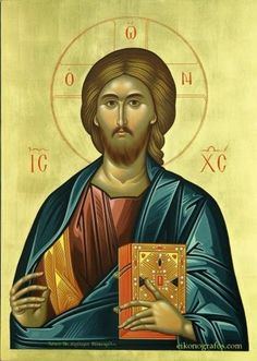 """Orthodox icon of our Lord Jesus Christ """"Pantocrator"""" or """"Blessing"""". Contemporary icon by the iconographer Dionysios Fentas. (Greece) The name of the store on the icon is just a watermark. The icon will NOT HAVE it. Religious Images, Religious Icons, Religious Art, Byzantine Art, Byzantine Icons, Christus Pantokrator, Christian Artwork, Jesus Prayer, Churches Of Christ"""