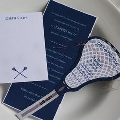 Amazing sewn, custom-designed lacrosse themed party card