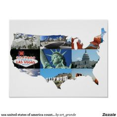 usa united states of america country map poster