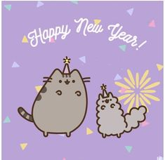 Happy new year from Pusheen and friends! and like OMG! get some yourself some pawtastic adorable cat shirts, cat socks, and other cat apparel by tapping the pin!