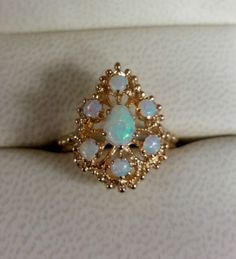 VINTAGE FILIGREE SOLID 14K YELLOW GOLD OPAL RING, SIZE 6.25 #Unbranded #Cocktail