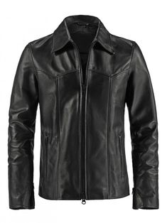 Mens Curved Chest Leather Jacket