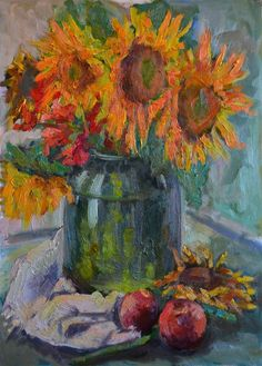 Still life with sunflowers. Oil.