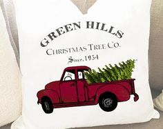 Christmas Trees For Sale pillow cover - Christmas Pillow Cover - Red Truck Pillow Cover - Christmas Trees Pillow - Pine Trees Pillow