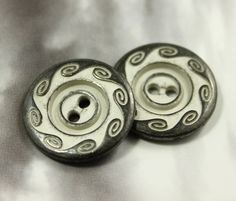 Swirl Metal Buttons , Gunmetal Gray Color , 2 Holes , 0.87 inch , 10 pcs by Lyanwood, $6.00