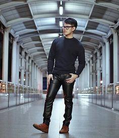 mejores zapatillas de deporte ee70e 1ca2e Las 79 mejores imágenes de Pantalones de cuero negros | Moda ...