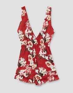 Printed crossed jumpsuit - New - Woman - PULL&BEAR Ukraine