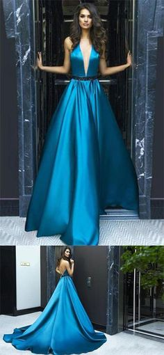 A-line V-Neck Halter Sweep Train Blue Sleeveless Elastic Woven Satin Backless Prom Dress M2745