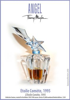 Collector's guide to Value of Thierry Mugler Angel Perfume Bottles limited edition Collecting Angel Parfum, Angel Fragrance, Thierry Mugler Angel Perfume, Thierry Mugler Alien, Diy Perfume Recipes, Bottom Of The Bottle, Bottle Stoppers, Glass Art, Perfume Bottles