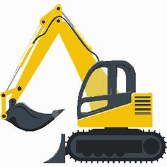 Construction excavator digital embroidery design, Excavator digitized embroidery design