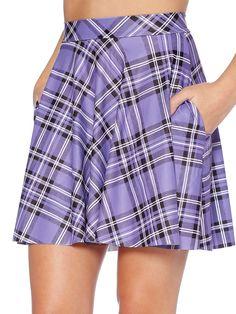 Tartan Lavender Pocket Skater Skirt (WW $65AUD / US $52USD) by Black Milk Clothing