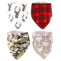 Stadela Cotton Baby Bandana Drool Bibs for Drooling and Teething Nursery Burp Cloths 4 Pack Baby Shower Gift Set for Boys Hunting Adventure with Deer Antler Arrows Plaid Woodland Forest Animal Baby Shower Gifts For Boys, Baby Shower Themes, Shower Ideas, Teething Bibs, Baby Boy Accessories, Baby Boy Bibs, Forest Animals, Burp Cloths, Baby Boy Outfits