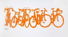Bicycle Art Print - Bike Stack Mini 2013 1 - Bikes in Orange on Etsy, $25.00