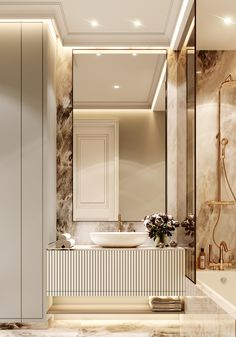 Neoclassic Apartment- Full Cg On Behance on Home Bathroom Ideas 1505 Washroom Design, Toilet Design, Bathroom Design Luxury, Modern Luxury Bathroom, Luxury Interior, Home Interior Design, Dream Bathrooms, Luxury Bathrooms, Glamorous Bathroom