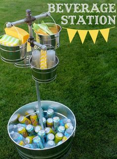 Outdoor beverage station - great party idea!