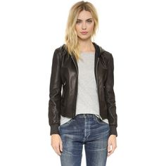 June Hooded Leather Jacket ($685) ❤ liked on Polyvore featuring outerwear, jackets, black, leather jacket, genuine leather jacket, long sleeve jacket, hooded zip jacket and zip jacket