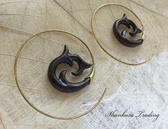 Brass Tribal Earrings Tribal Wood Earrings by ShankaraTrading