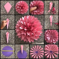 Tissue Paper Flowers Paper Roses Felt Flowers Giant Paper Flowers Diy Flowers Fabric Flowers White And Blue Flowers Origami Blume Flower Template Paper Flowers Craft, Large Paper Flowers, Paper Flower Backdrop, Giant Paper Flowers, Paper Roses, Flower Crafts, Diy Flowers, Paper Dahlia, Paper Flowers How To Make