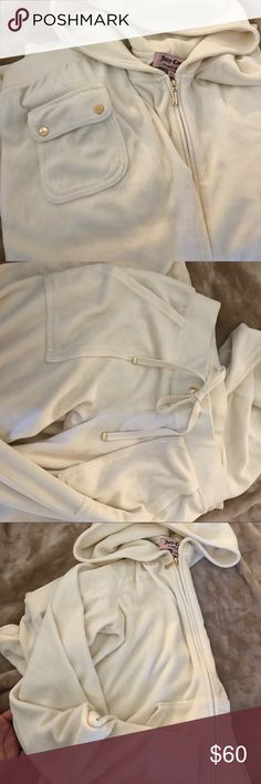 Cream and gold juicy velour set Worn a few times, EUC, gold details, front and back pockets on pants. Zip up hoodie with front pockets. No design. Top is large and bottom is an xs. Juicy Couture Other
